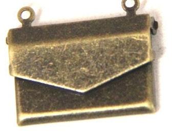 12 pcs of brass locket envelop shape-20X15mm-BL3002-antique bronze
