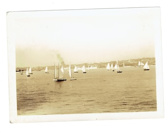 Original Vintage Photo Small Sailboats on the Water Taken by J Rugen of Newport Rhode Island 5 x 7 inches Nice