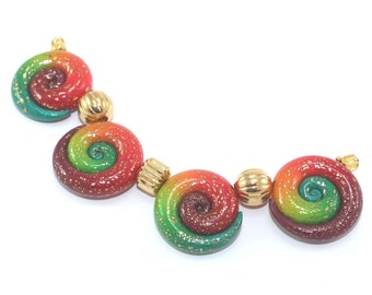 Unique round spiral jewelry pendant beads, DIY jewelry gift craft supplies, red green ombre original design polymer clay beads charms, 4 pcs