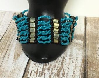 Beaded bracelet - blue beaded bracelet - beaded tila bracelet - bead woven bracelet - gift - unique bracelet - seed beaded bracelet