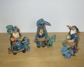 Vintage Ornaments - 3 Wizard and Dragon Figures, Resin Figures, 1980s Figurines, Fantasy Figures