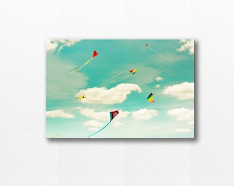 kite photography canvas print nursery decor 12x18 24x36 fine art photography blue sky canvas print photography canvas gallery wrap rainbow