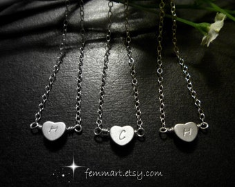 Heart  Initial Necklace - Silver - Initial Heart Necklace - Heart Necklace - Reversible - Personalized - Casual - Bridesmaid Gift - Wedding