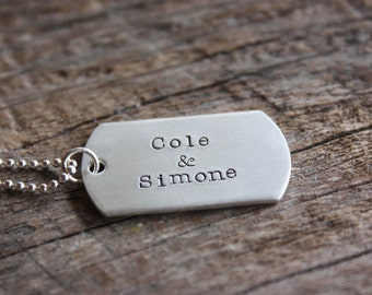 Dog Tag Sterling Silver Hand Stamped Necklace - Personalized Just for You