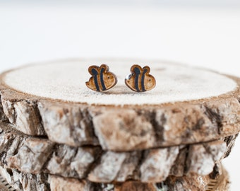 Busy Bee Earrings | Wood stud earrings | animal earrings
