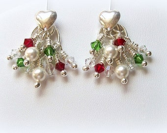 Christmas Cascade Earrings of Red and Green Swarovski Crystals and White Glass Pearls