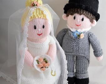 Hand knitted bride and groom wedding couple UK seller wedding gift dolls
