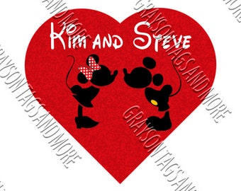 CUTE!!  Minnie and Mickey Heart Disney Cruise Magnet