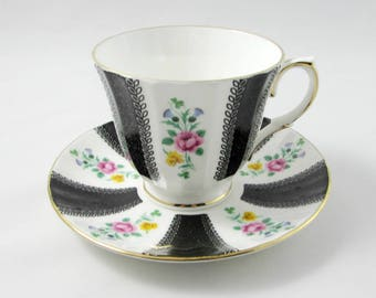Tea Cup and Saucer by Duchess, with Black Stripes and Flowers, Vintage Bone China