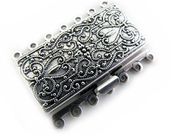Antique Silver Scroll Clasp - 7 Strand