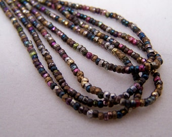 Antique French metal bead hank Faceted Diamond cuts and rounds bright colors  Vintage beads