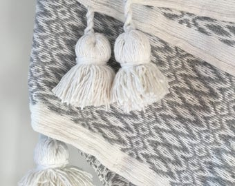 Gray and White Moroccan Pom Pom Blanket Dreamy - Mother's Day gift
