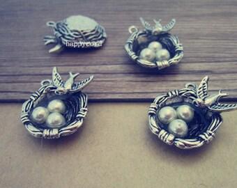 10pcs  Antique silver Bird nest  charm pendant  21mmx24mm