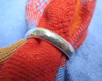 Finger Shape, Comfort Fit Heavy Sterling Band Ring, Size 6 or 7