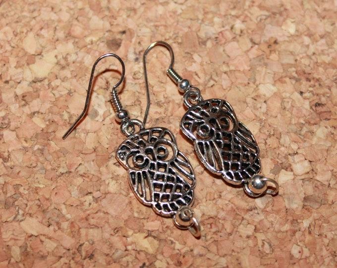 Owl Earrings, Dangle Earrings, Nature Earrings, Charm Earrings, Bell Art Designs 178