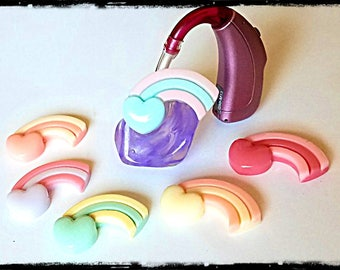 Hearing Aid Tube Trinkets: Pastel Rainbow Hearts!  Please select quantity 2 for a pair!