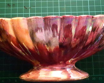 """Vintage Oldcourt Ware Hand Painted 10.5"""" Fluted Lustre Oval Rose Bowl Circa 1960"""