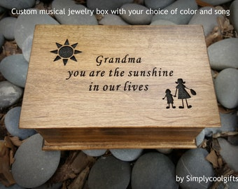 Grandma, musical jewelry box, music box for Grandma, music box, jewelry box, wooden music box, you are my sunshine, Simplycoolgifts