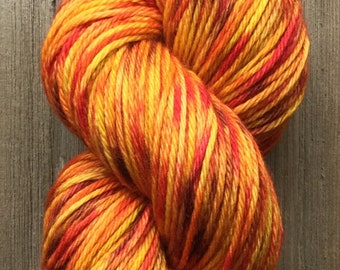 Hand Dyed Yarn, Worsted Weight 4ply, 100% Superwash Merino Wool, Golden Sunflower on Hearty Worsted Yarn