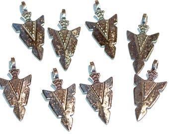 Arrowhead silver feather pendant arrowhead charm sterling silver arrowhead pendant arrowhead charm silver tone arrowhead necklace mens arrowhead pendant 8 pieces aloadofball Gallery