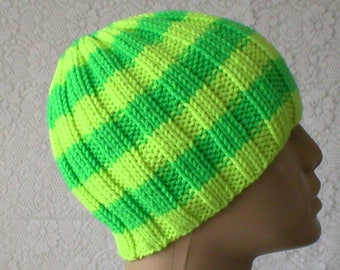 Neon yellow green beanie hat, skull cap, wool hat, striped hat, toque, green yellow hat, beanie hat, mens womens knit hat, ski hiking hat