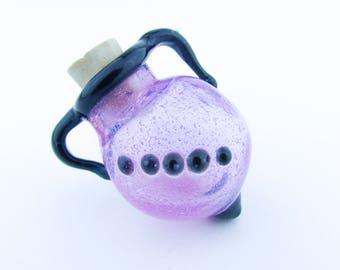 Aromatherapy Vial Pendant, Oil Diffuser Necklace, Lampwork Glass Vessel, Hand Blown Glass Jar, Art Glass, Lavender Boro Glass Jug Pendant