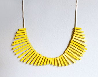 geometric tribal collar necklace with yellow sticks and white beads - contemporary jewelry