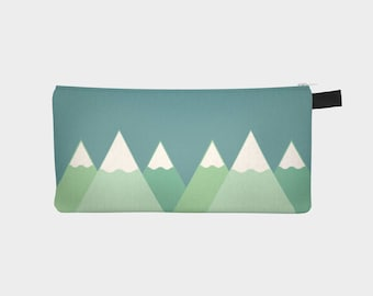 Mountains and trees | Teal | pencil case