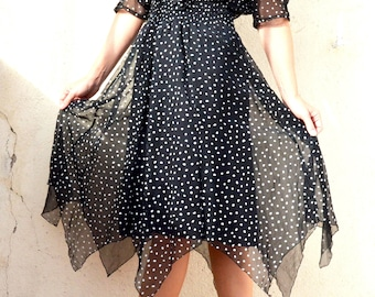 French vintage 1980's dress Cardigan dress black Polka dot midi polka dots dress long dress Polka dot wrap dress Black and white dress