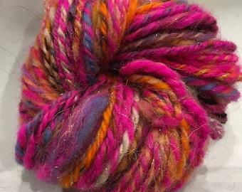 HOT DEN Chunky Merino Silk Sparkle hand spun Art Yarn 33 metre 37 yards 2ply Weave Knit or Crochet 30g