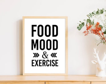 Fitness quote print, Food Mood and Exercise Printable poster, Health n fitness print, Fitness poster, Diet print, instant download