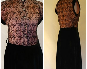BEAUTIFUL Vintage 1950s dress, black and pink dress, velvet and lace dress UK 10 / small