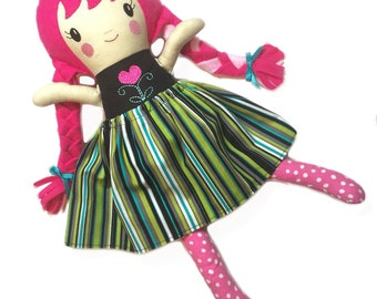 Custom Handmade Girl Doll with Pigtails / Sweet Sister / 2 Sizes