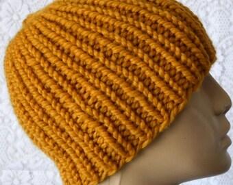 Mustard yellow beanie hat, mens womens hat, skull cap, knit hat, ribbed beanie hat, toque, winter hat, yellow gold hat, biker hiking hat, V1