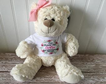 Flower girl personalized teddy bear // plush stuffed animal // wedding gift // Daughter Granddaughter Niece Gift Present