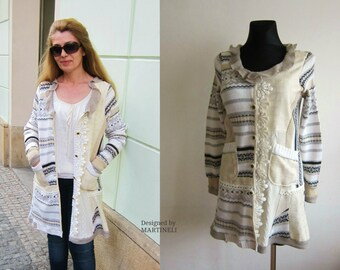 M/L Beige Ivory Sweater Coat, Extravagant Coat, Patchwork Coat, Recycled Sweaters, Boho Top, Lace Coat, Bohemian Style, Bohemian Coat