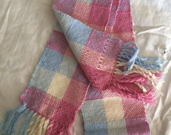 Scarf, Pink, Blue, and White Checked