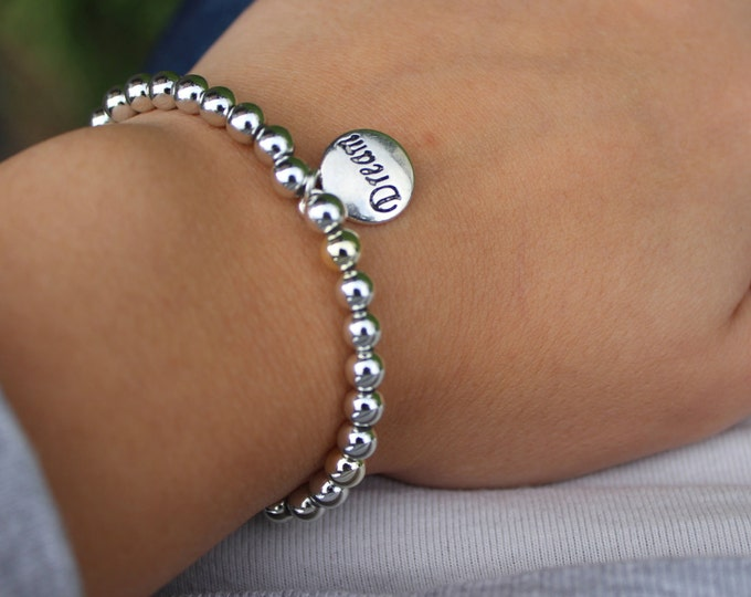 Shiny Silver Beaded Dream Bracelet - Simple Silver Bracelet.