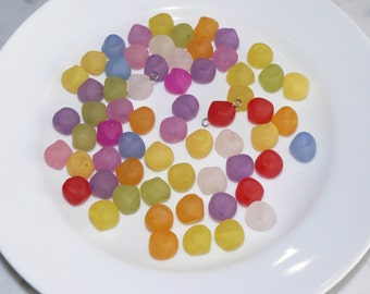 Frosted Plastic Bead Mix, Round Pastel Bead, Bead Soup Mix, 60 Beads, Jewelry Supply, Arts and Craft Supply, Loose Beads