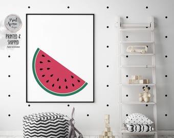 Watermelon Slice Print, Summer Decor, Tropical Fruit Art, Nursery Print, Kitchen Art, Minimal Watermelon Art, 12x16in, A2, A3, Print Avenue