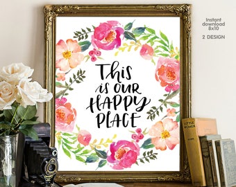This is our happy place, floral office decor typography inspirational wall decor quote printable, Motivational Wall Art