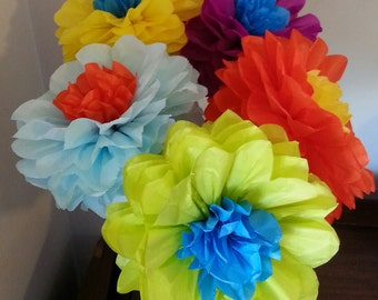 Tissue Paper Fiesta Flowers - Set of 5 Flowers - Parties decor//Cinco de Mayo//DecorationS//Weddings//Receptions