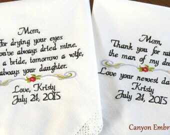 Wedding Gift, 2 Embroidered Wedding Hankerchief, Mom Mother In-Law Mom, Wedding Gift Mother of the Bride Mother In Law, By Canyon Embroidery