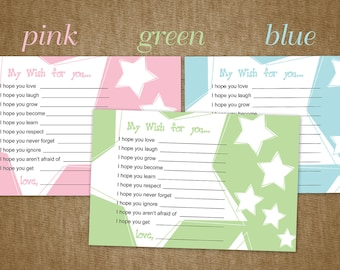 Baby Shower Wishes, DIY Printable Cards for a Baby Shower with Stars - Instant Download