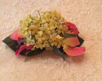 Romantic Pale Yellow and Fushia Floral Hair Clip