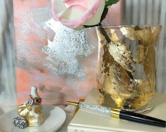 Small gold leaf vase-- gold foil