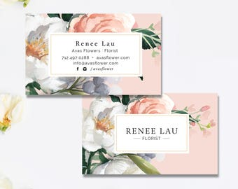 Floral Business Card, Florist, Flowers, Modern Business Card PSD Template, Photoshop Template, INSTANT DOWNLOAD!