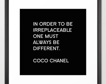 Chanel Print, Black and White Wall Art, Chanel Inspired Wall Decor, Girls Bedroom Art, Inspirational Quotes, Fashion Decor, Gifts for Her