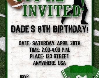 Football Birthday Party Invitation - Green