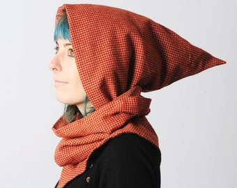 Red hooded scarf, Brick red cowl with hood, Pixie hooded cowl in checkered red, removable hood, Womens scarf, MALAM, Made in France